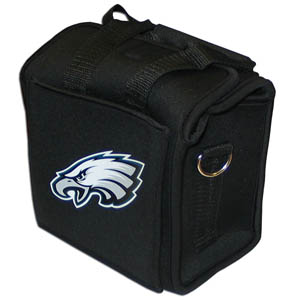 Philadelphia Eagles Neoprene Can Tote - This quality NFL Philadelphia Eagles neoprene can tote holds 6 standard aluminum cans with handy flexible interior dividers. The tote features a comfort handle and silk screened Philadelphia Eagles team logo. Officially licensed NFL product Licensee: Siskiyou Buckle .com
