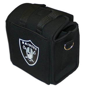 Oakland Raiders Neoprene Can Tote - This quality NFL Oakland Raiders neoprene can tote holds 6 standard aluminum cans with handy flexible interior dividers. The tote features a comfort handle and silk screened Oakland Raiders team logo. Officially licensed NFL product Licensee: Siskiyou Buckle Thank you for visiting CrazedOutSports.com