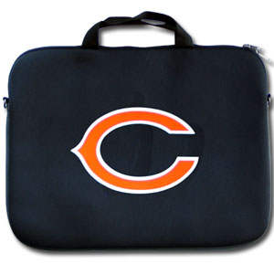 "Chicago Bears Laptop Bag - Our Chicago Bears neoprene laptop bags is designed to fit 15"" and most 17"" laptops and are approved to pass airport security without removing the equipment from the bag. Some 17"" laptops are designed with a wider border and may not fit this bag. (inner bag dimensions: 11 ¾""t x 15""w) Officially licensed NFL product Licensee: Siskiyou Buckle .com"