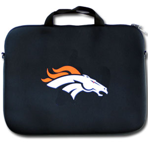 "Denver Broncos Laptop Bag - Our Denver Broncos neoprene laptop bags is designed to fit 15"" and most 17"" laptops and are approved to pass airport security without removing the equipment from the bag. Some 17"" laptops are designed with a wider border and may not fit this bag. (inner bag dimensions: 11 3/4""t x 15""w) Officially licensed NFL product Licensee: Siskiyou Buckle Thank you for visiting CrazedOutSports.com"
