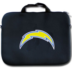 "San Diego Chargers Laptop Bag - Our San Diego Chargers neoprene laptop bags is designed to fit 15"" and most 17"" laptops and are approved to pass airport security without removing the equipment from the bag. Some 17"" laptops are designed with a wider border and may not fit this bag. (inner bag dimensions: 11 ¾""t x 15""w) Officially licensed NFL product Licensee: Siskiyou Buckle .com"
