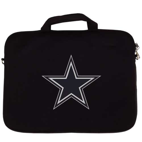 "Dallas Cowboys Laptop Bag - Our Dallas Cowboys neoprene laptop bags is designed to fit 15"" and most 17"" laptops and are approved to pass airport security without removing the equipment from the bag. Some 17"" laptops are designed with a wider border and may not fit this bag. (inner bag dimensions: 11 ¾""t x 15""w) Officially licensed NFL product Licensee: Siskiyou Buckle Thank you for visiting CrazedOutSports.com"
