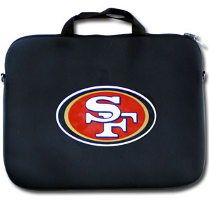 "San Francisco 49ers Laptop Bag - Our San Francisco 49ers neoprene laptop bags is designed to fit 15"" and most 17"" laptops and are approved to pass airport security without removing the equipment from the bag. Some 17"" laptops are designed with a wider border and may not fit this bag. (inner bag dimensions: 11 ¾""t x 15""w) Officially licensed NFL product Licensee: Siskiyou Buckle .com"