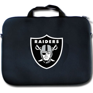 "Oakland Raiders Laptop Bag - Our Oakland Raiders neoprene laptop bags is designed to fit 15"" and most 17"" laptops and are approved to pass airport security without removing the equipment from the bag. Some 17"" laptops are designed with a wider border and may not fit this bag. (inner bag dimensions: 11 ¾""t x 15""w) Officially licensed NFL product Licensee: Siskiyou Buckle Thank you for visiting CrazedOutSports.com"