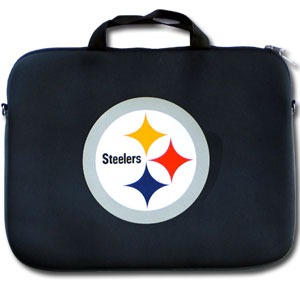 """Pittsburgh Steelers Laptop Bag - Our Pittsburgh Steelers neoprene laptop bags is designed to fit 15"""" and most 17"""" laptops and are approved to pass airport security without removing the equipment from the bag. Some 17"""" laptops are designed with a wider border and may not fit this bag. (inner bag dimensions: 11 ¾""""t x 15""""w) Officially licensed NFL product Licensee: Siskiyou Buckle Thank you for visiting CrazedOutSports.com"""
