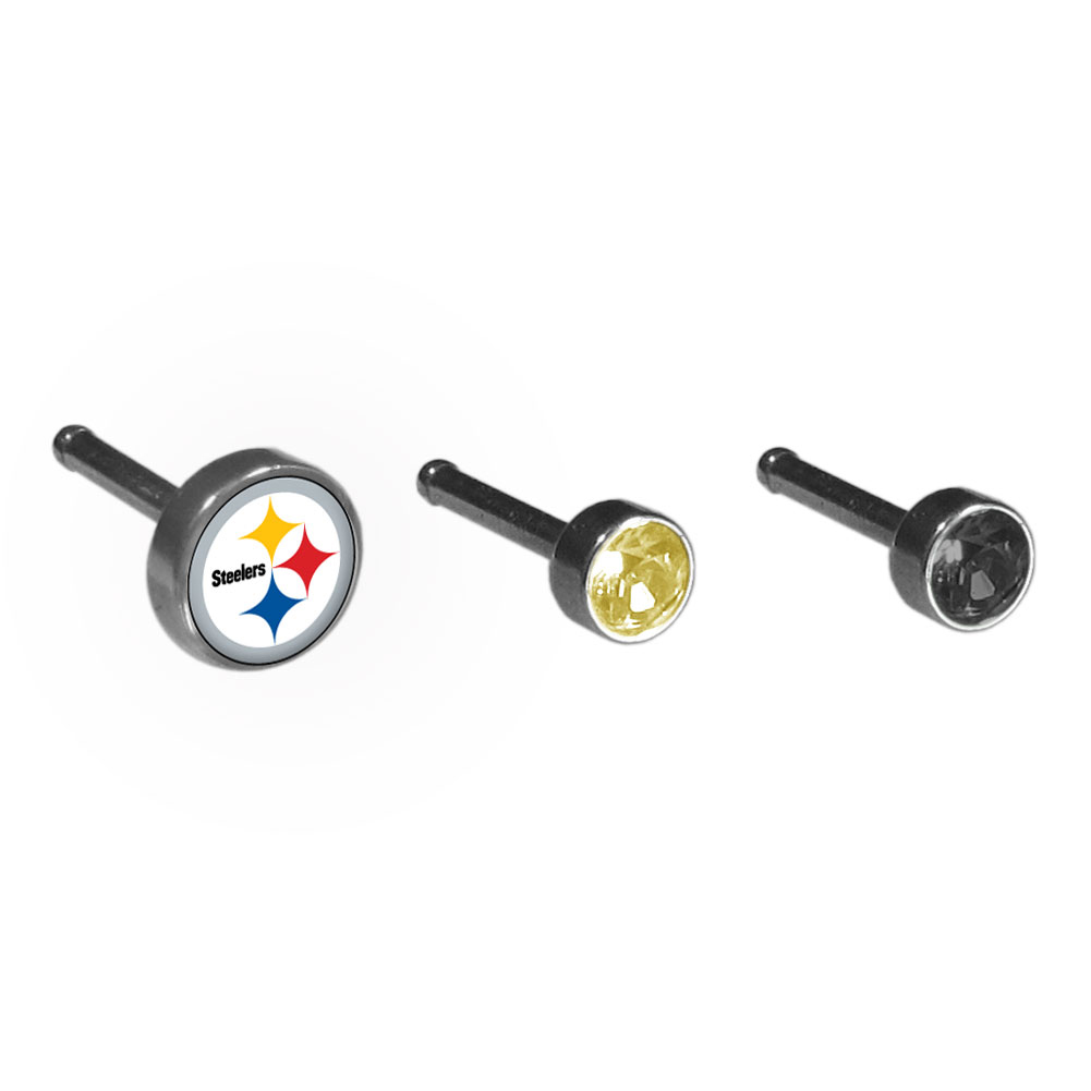 Pittsburgh Steelers Nose Bone Stud Set of 3 - High quality surgical steel nose bone set with 3 nose rings to choose from one of them featuring a Pittsburgh Steelers logo. Perfect for the die-hard fan!