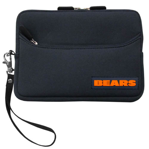 Chicago Bears Neoprene eReader Tablet Case - Our officially licensed ereader tablet case is made of durable soft neoprene to protect your device from bumps and scratches. The case has a zippered closure, outer storage pocket and wrist strap.  Officially licensed NFL product Licensee: Siskiyou Buckle .com