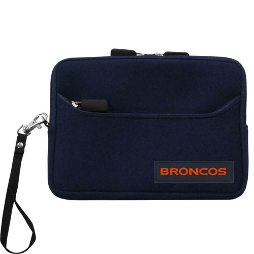 Denver Broncos Neoprene eReader Tablet Case - Our officially licensed ereader tablet case is made of durable soft neoprene to protect your device from bumps and scratches. The case has a zippered closure, outer storage pocket and wrist strap.  Officially licensed NFL product Licensee: Siskiyou Buckle Thank you for visiting CrazedOutSports.com