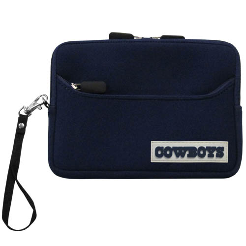 Dallas Cowboys Neoprene eReader Tablet Case - Our officially licensed ereader tablet case is made of durable soft neoprene to protect your device from bumps and scratches. The case has a zippered closure, outer storage pocket and wrist strap.  Officially licensed NFL product Licensee: Siskiyou Buckle .com