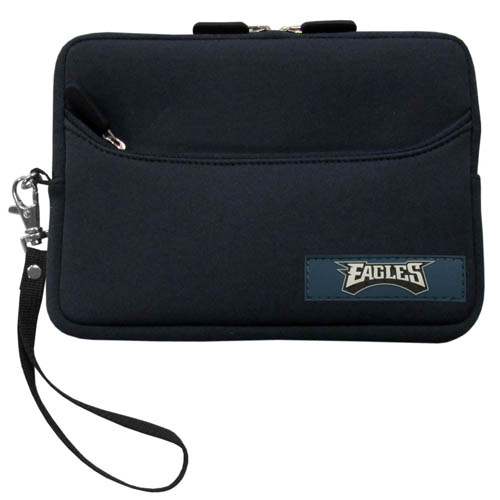 Philadelphia Eagles Neoprene eReader Tablet Case - Our officially licensed ereader tablet case is made of durable soft neoprene to protect your device from bumps and scratches. The case has a zippered closure, outer storage pocket and wrist strap.  Officially licensed NFL product Licensee: Siskiyou Buckle .com