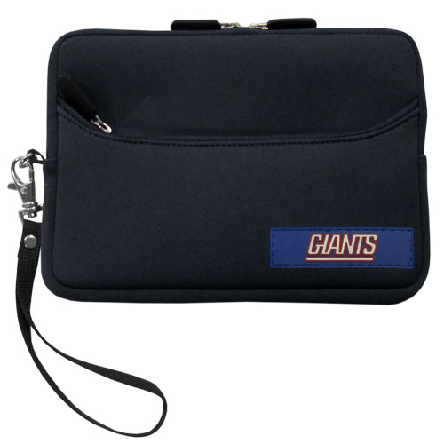 New York Giants Neoprene eReader Tablet Case - Our officially licensed ereader tablet case is made of durable soft neoprene to protect your device from bumps and scratches. The case has a zippered closure, outer storage pocket and wrist strap.  Officially licensed NFL product Licensee: Siskiyou Buckle .com