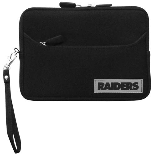 Oakland Raiders Neoprene eReader Tablet Case - Our officially licensed ereader tablet case is made of durable soft neoprene to protect your device from bumps and scratches. The case has a zippered closure, outer storage pocket and wrist strap.  Officially licensed NFL product Licensee: Siskiyou Buckle Thank you for visiting CrazedOutSports.com