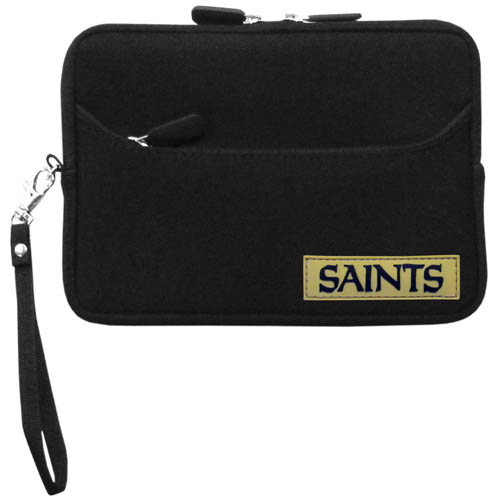 New Orleans Saints Neoprene eReader Tablet Case - Our officially licensed ereader tablet case is made of durable soft neoprene to protect your device from bumps and scratches. The case has a zippered closure, outer storage pocket and wrist strap.  Officially licensed NFL product Licensee: Siskiyou Buckle .com