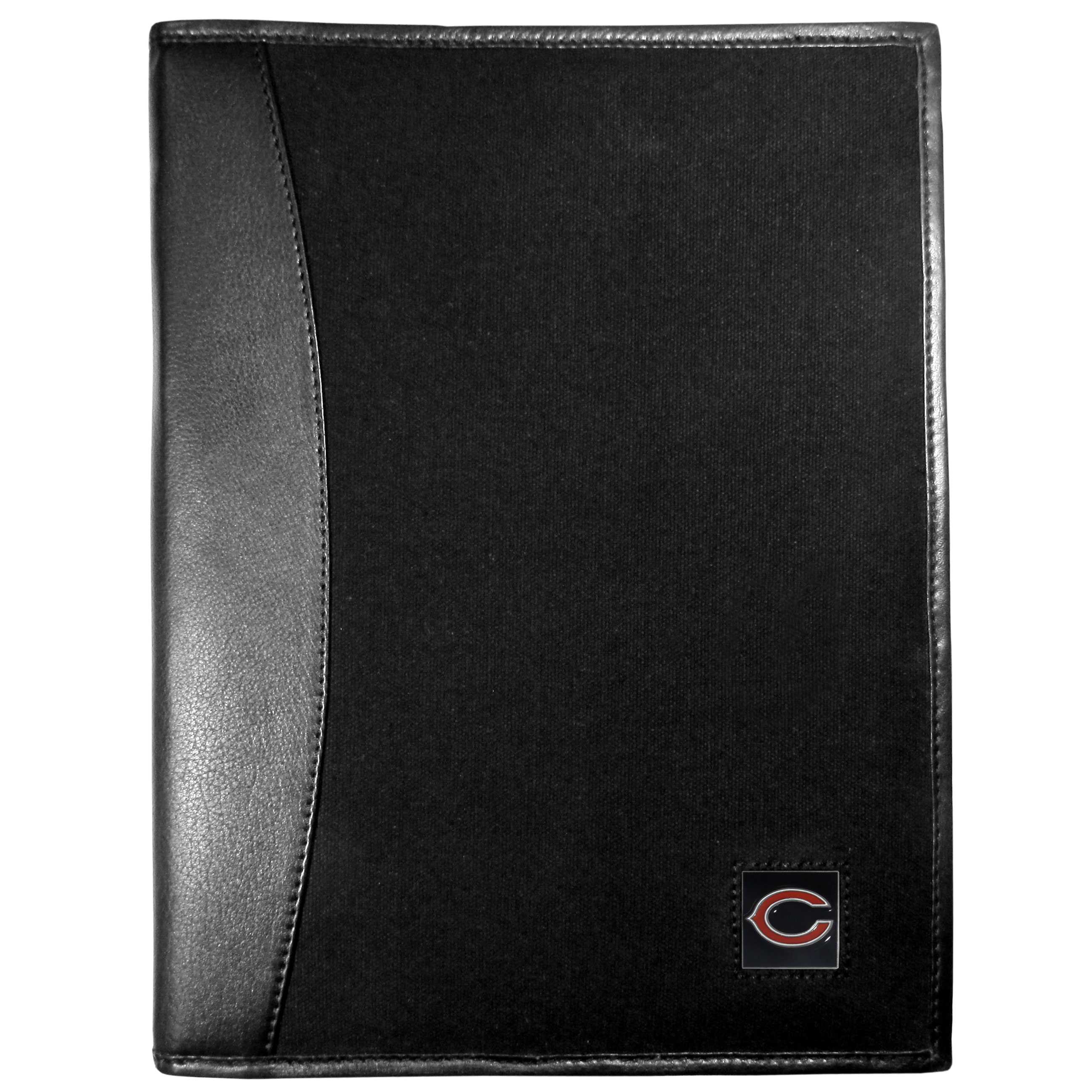 Chicago Bears Leather and Canvas Padfolio - Our leather and canvas padfolio perfectly blends form and function. The attractive portfolio is bound in fine grain leather with an attractive canvas finish and the interior is a soft nylon. This high quality business accessory also features a fully cast metal Chicago Bears emblem that is subtly set in the corner of the organizer. It is packed with features like 6 card slots for badges, business cards, hotel keys or credit cards and ID with a large pocket for loose papers and a writing tablet slot making it a must-have for the professional on the go.