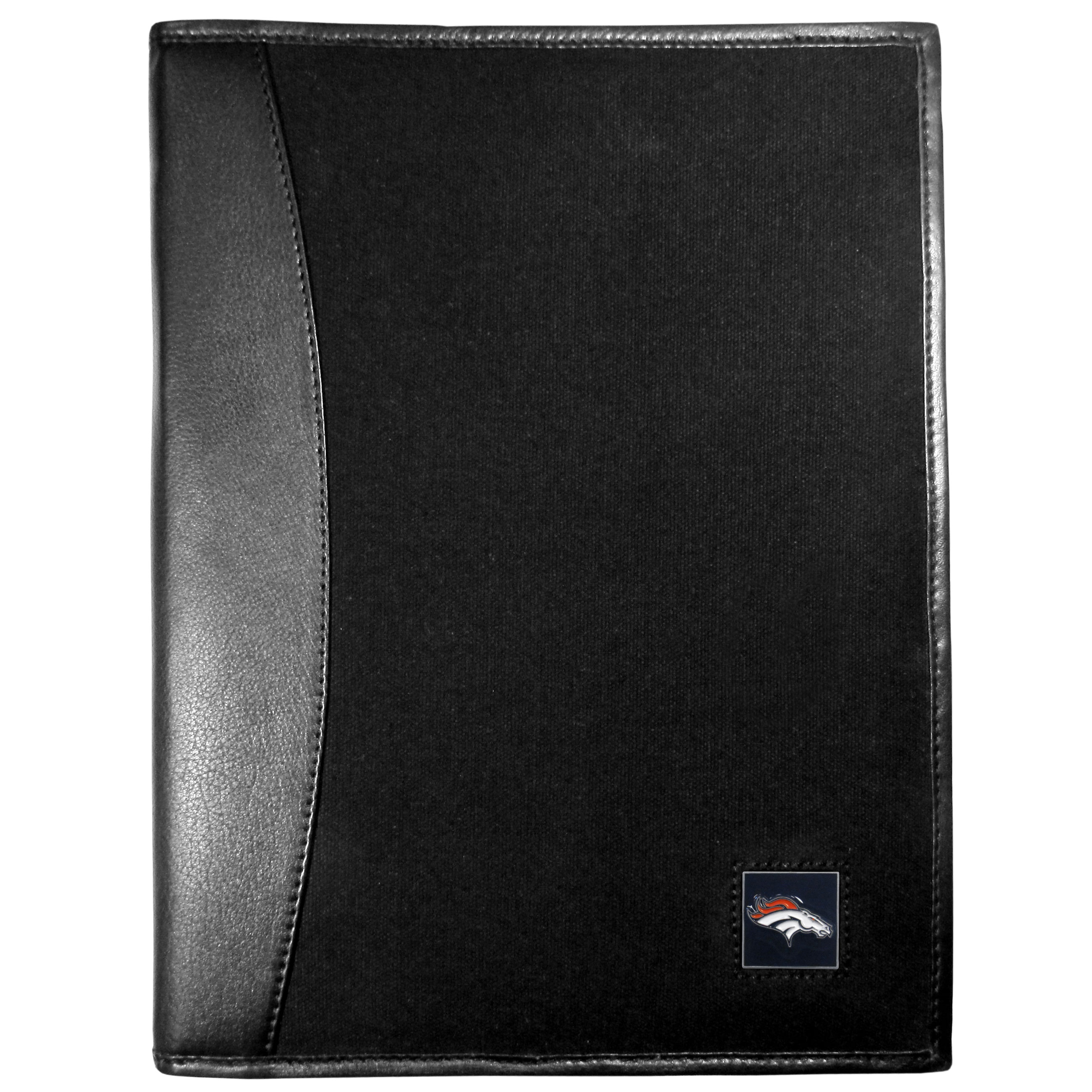 Denver Broncos Leather and Canvas Padfolio - Our leather and canvas padfolio perfectly blends form and function. The attractive portfolio is bound in fine grain leather with an attractive canvas finish and the interior is a soft nylon. This high quality business accessory also features a fully cast metal Denver Broncos emblem that is subtly set in the corner of the organizer. It is packed with features like 6 card slots for badges, business cards, hotel keys or credit cards and ID with a large pocket for loose papers and a writing tablet slot making it a must-have for the professional on the go.