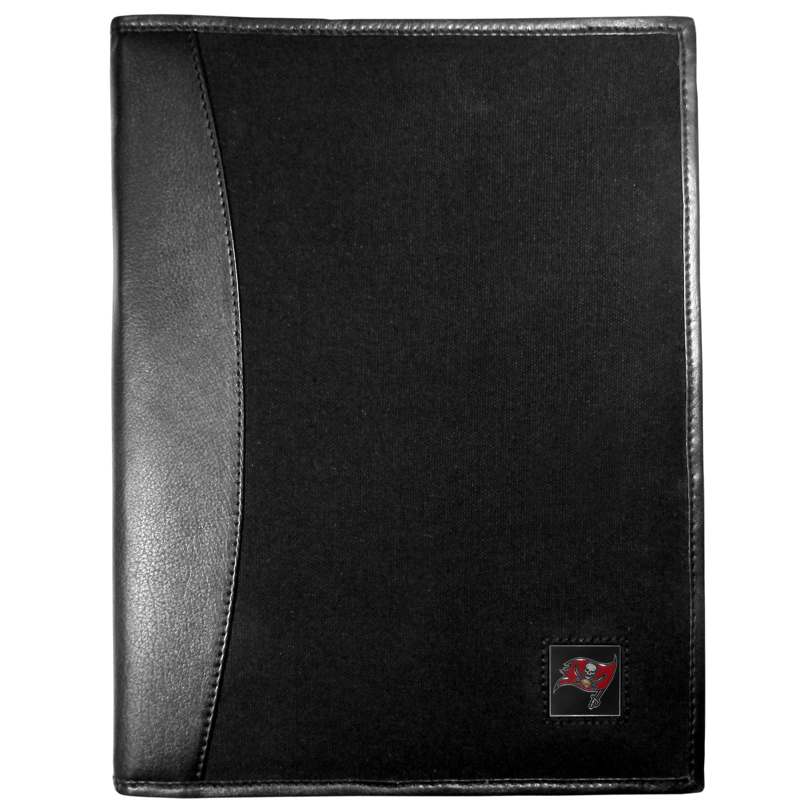 Tampa Bay Buccaneers Leather and Canvas Padfolio - Our leather and canvas padfolio perfectly blends form and function. The attractive portfolio is bound in fine grain leather with an attractive canvas finish and the interior is a soft nylon. This high quality business accessory also features a fully cast metal Tampa Bay Buccaneers emblem that is subtly set in the corner of the organizer. It is packed with features like 6 card slots for badges, business cards, hotel keys or credit cards and ID with a large pocket for loose papers and a writing tablet slot making it a must-have for the professional on the go.