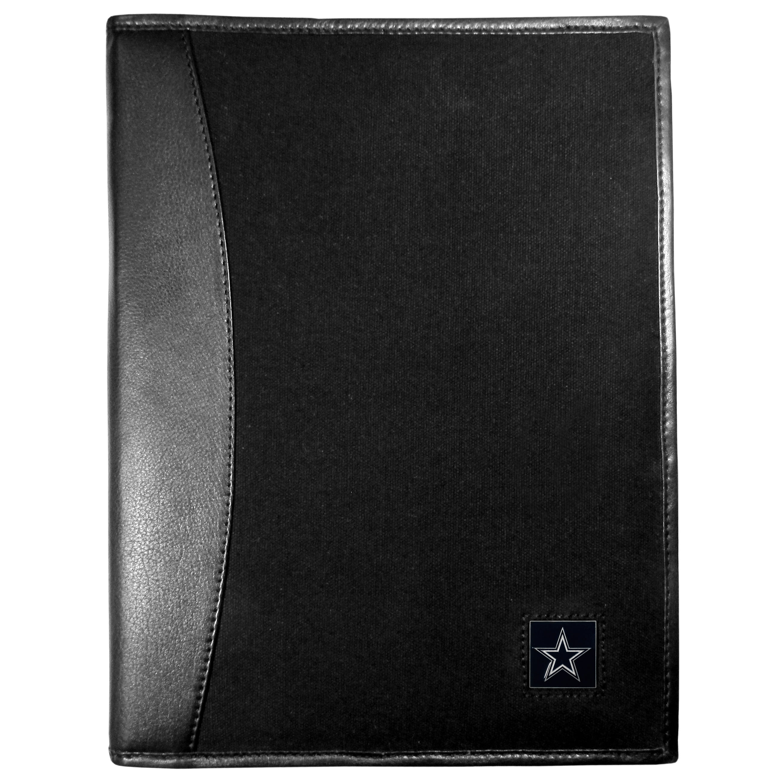 Dallas Cowboys Leather and Canvas Padfolio - Our leather and canvas padfolio perfectly blends form and function. The attractive portfolio is bound in fine grain leather with an attractive canvas finish and the interior is a soft nylon. This high quality business accessory also features a fully cast metal Dallas Cowboys emblem that is subtly set in the corner of the organizer. It is packed with features like 6 card slots for badges, business cards, hotel keys or credit cards and ID with a large pocket for loose papers and a writing tablet slot making it a must-have for the professional on the go.