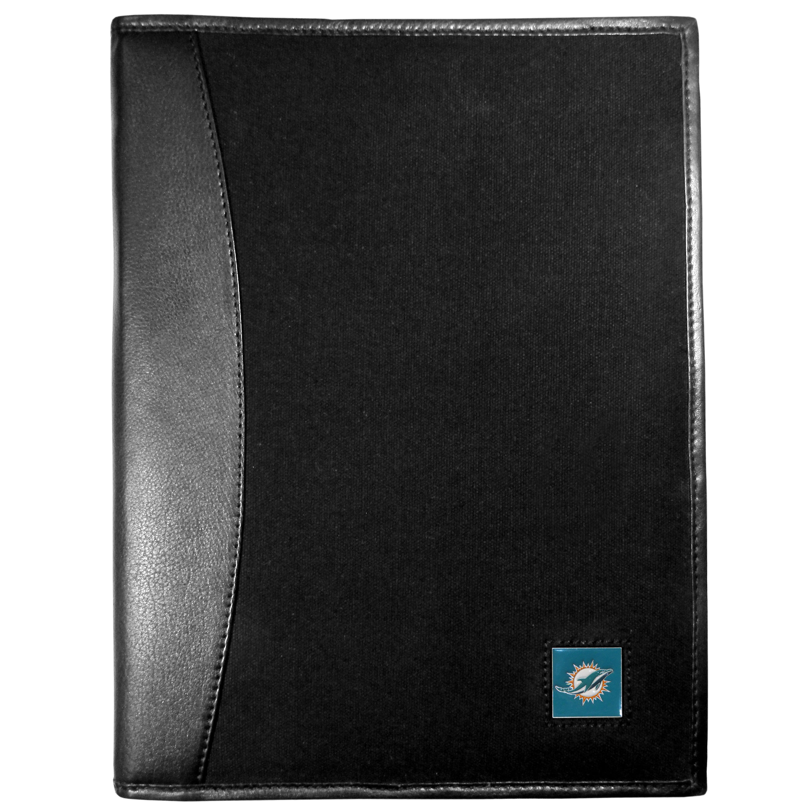 Miami Dolphins Leather and Canvas Padfolio - Our leather and canvas padfolio perfectly blends form and function. The attractive portfolio is bound in fine grain leather with an attractive canvas finish and the interior is a soft nylon. This high quality business accessory also features a fully cast metal Miami Dolphins emblem that is subtly set in the corner of the organizer. It is packed with features like 6 card slots for badges, business cards, hotel keys or credit cards and ID with a large pocket for loose papers and a writing tablet slot making it a must-have for the professional on the go.