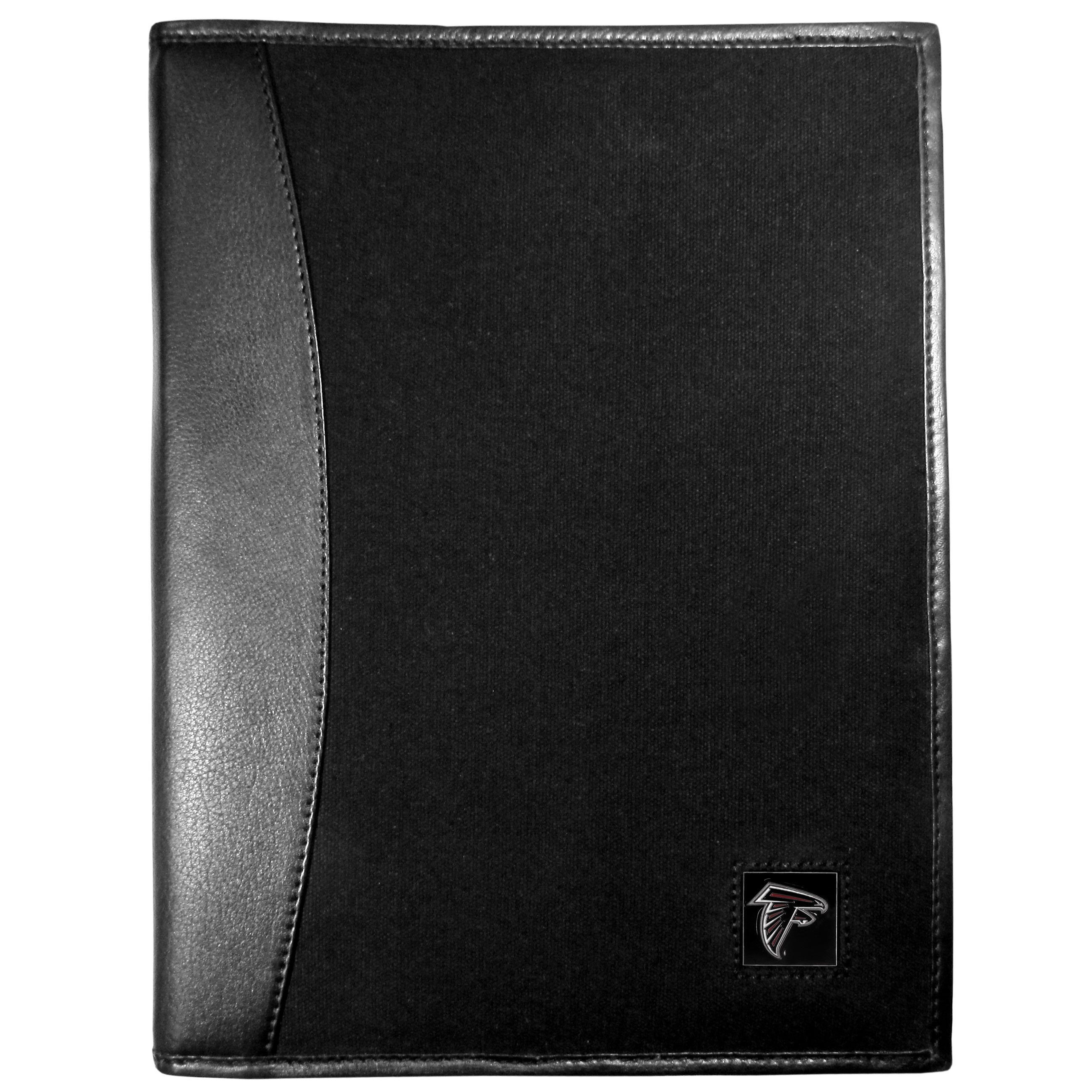 Atlanta Falcons Leather and Canvas Padfolio - Our leather and canvas padfolio perfectly blends form and function. The attractive portfolio is bound in fine grain leather with an attractive canvas finish and the interior is a soft nylon. This high quality business accessory also features a fully cast metal Atlanta Falcons emblem that is subtly set in the corner of the organizer. It is packed with features like 6 card slots for badges, business cards, hotel keys or credit cards and ID with a large pocket for loose papers and a writing tablet slot making it a must-have for the professional on the go.
