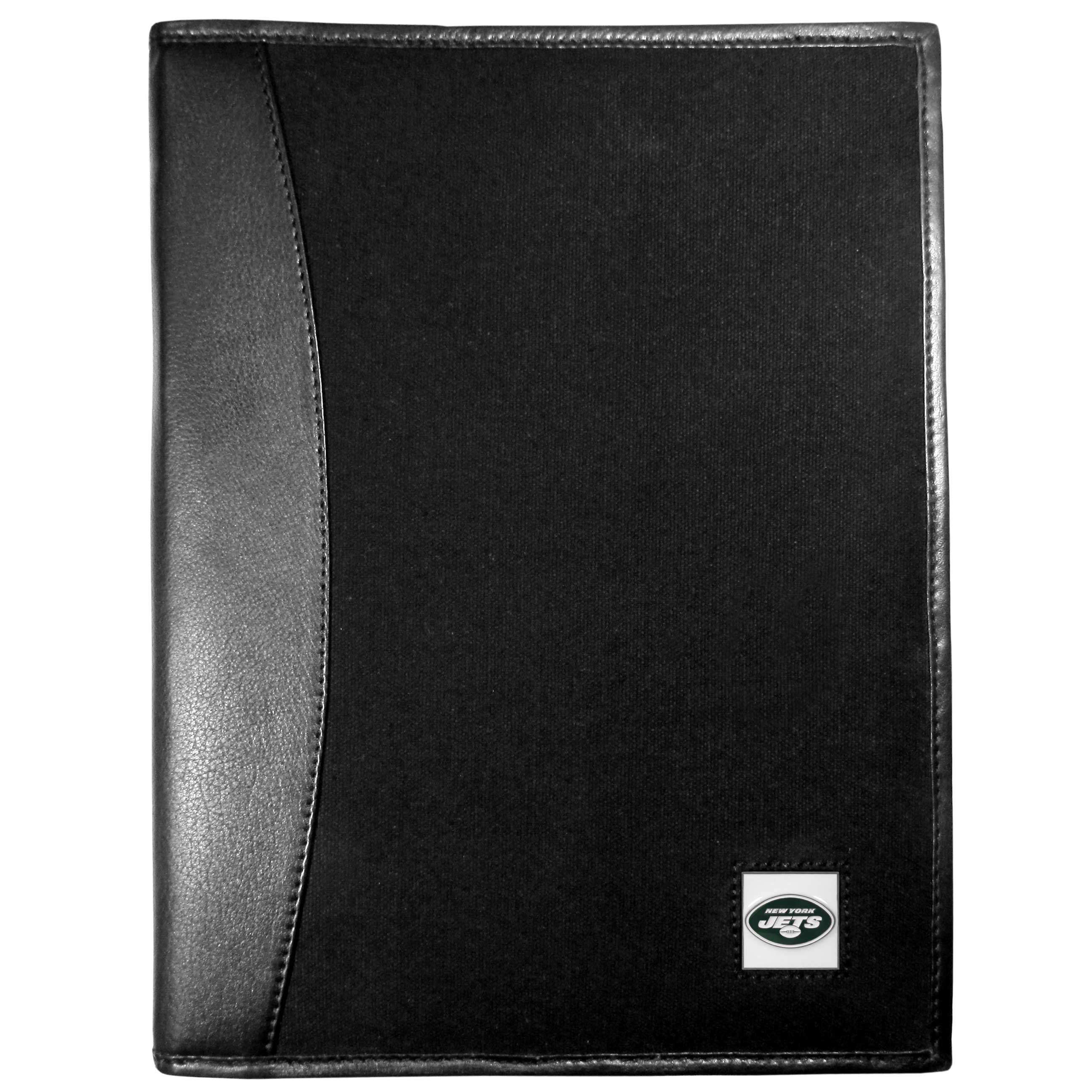 New York Jets Leather and Canvas Padfolio - Our leather and canvas padfolio perfectly blends form and function. The attractive portfolio is bound in fine grain leather with an attractive canvas finish and the interior is a soft nylon. This high quality business accessory also features a fully cast metal New York Jets emblem that is subtly set in the corner of the organizer. It is packed with features like 6 card slots for badges, business cards, hotel keys or credit cards and ID with a large pocket for loose papers and a writing tablet slot making it a must-have for the professional on the go.