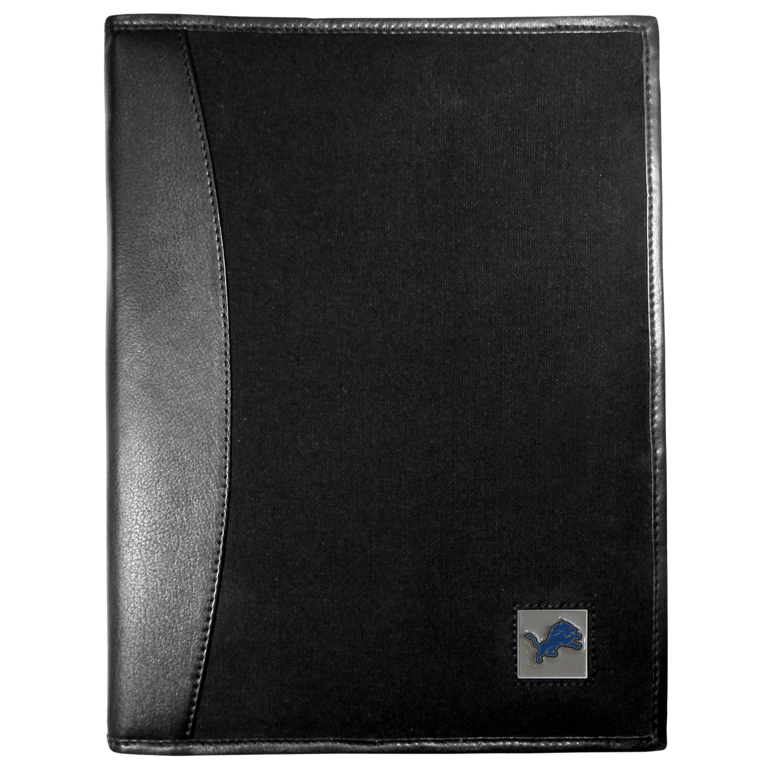 Detroit Lions Leather and Canvas Padfolio - Our leather and canvas padfolio perfectly blends form and function. The attractive portfolio is bound in fine grain leather with an attractive canvas finish and the interior is a soft nylon. This high quality business accessory also features a fully cast metal Detroit Lions emblem that is subtly set in the corner of the organizer. It is packed with features like 6 card slots for badges, business cards, hotel keys or credit cards and ID with a large pocket for loose papers and a writing tablet slot making it a must-have for the professional on the go.