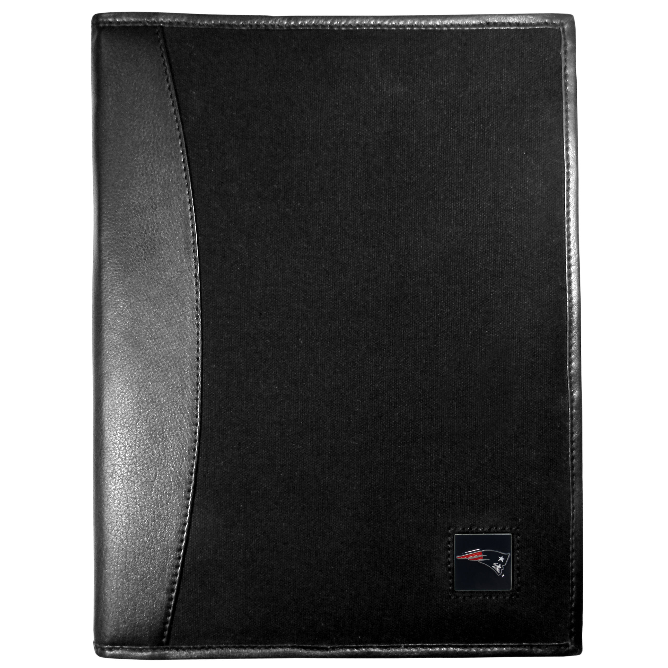 New England Patriots Leather and Canvas Padfolio - Our leather and canvas padfolio perfectly blends form and function. The attractive portfolio is bound in fine grain leather with an attractive canvas finish and the interior is a soft nylon. This high quality business accessory also features a fully cast metal New England Patriots emblem that is subtly set in the corner of the organizer. It is packed with features like 6 card slots for badges, business cards, hotel keys or credit cards and ID with a large pocket for loose papers and a writing tablet slot making it a must-have for the professional on the go.