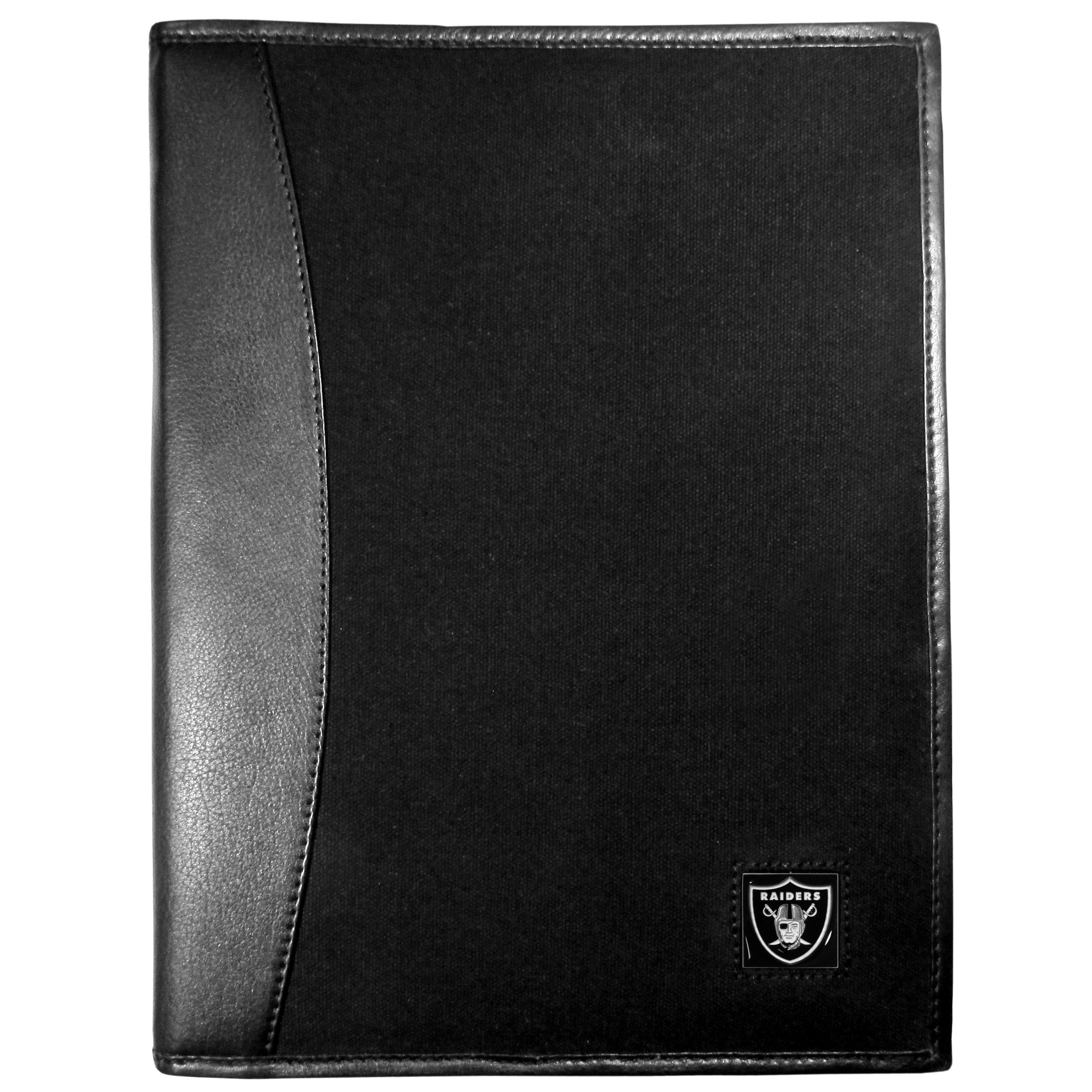 Oakland Raiders Leather and Canvas Padfolio - Our leather and canvas padfolio perfectly blends form and function. The attractive portfolio is bound in fine grain leather with an attractive canvas finish and the interior is a soft nylon. This high quality business accessory also features a fully cast metal Oakland Raiders emblem that is subtly set in the corner of the organizer. It is packed with features like 6 card slots for badges, business cards, hotel keys or credit cards and ID with a large pocket for loose papers and a writing tablet slot making it a must-have for the professional on the go.