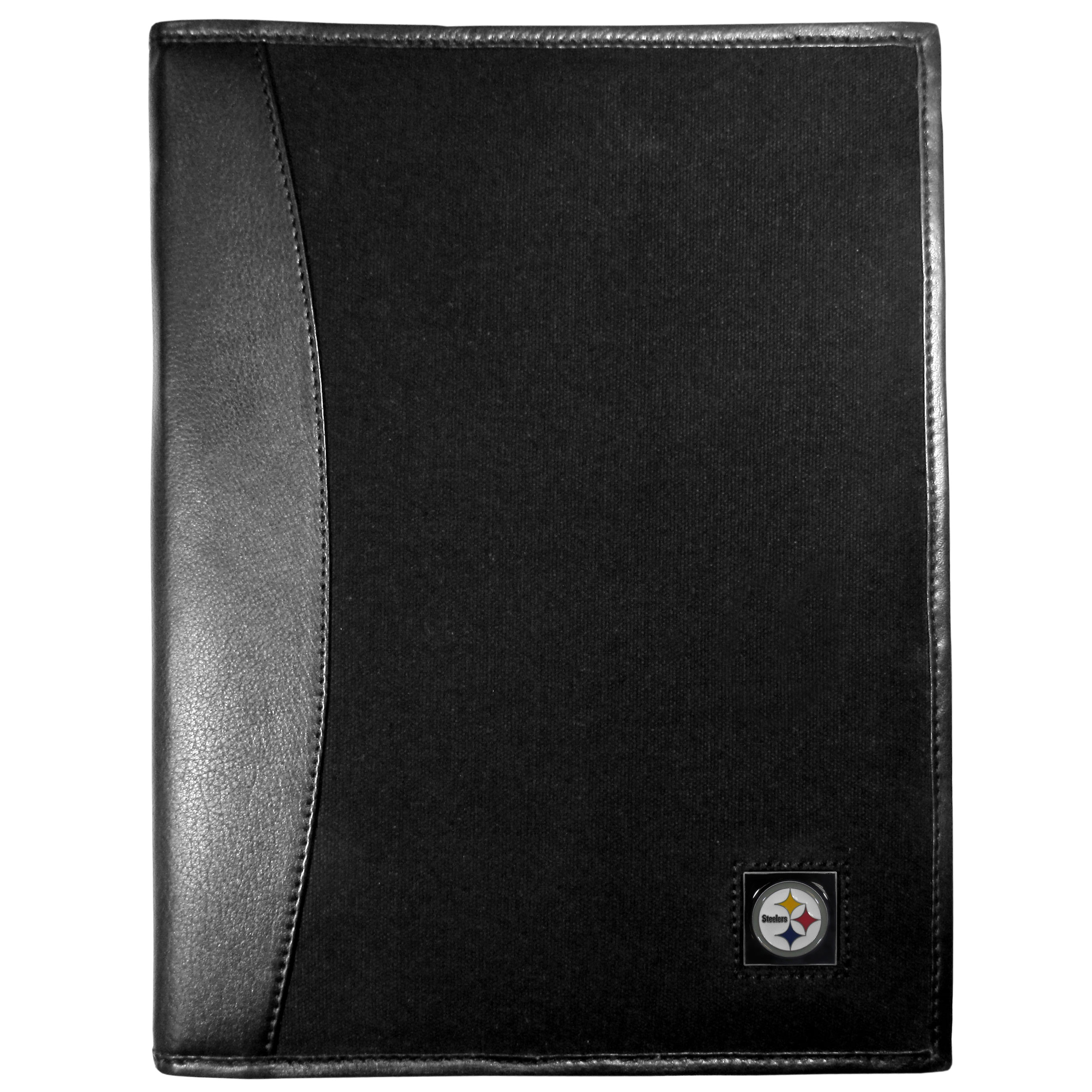 Pittsburgh Steelers Leather and Canvas Padfolio - Our leather and canvas padfolio perfectly blends form and function. The attractive portfolio is bound in fine grain leather with an attractive canvas finish and the interior is a soft nylon. This high quality business accessory also features a fully cast metal Pittsburgh Steelers emblem that is subtly set in the corner of the organizer. It is packed with features like 6 card slots for badges, business cards, hotel keys or credit cards and ID with a large pocket for loose papers and a writing tablet slot making it a must-have for the professional on the go.
