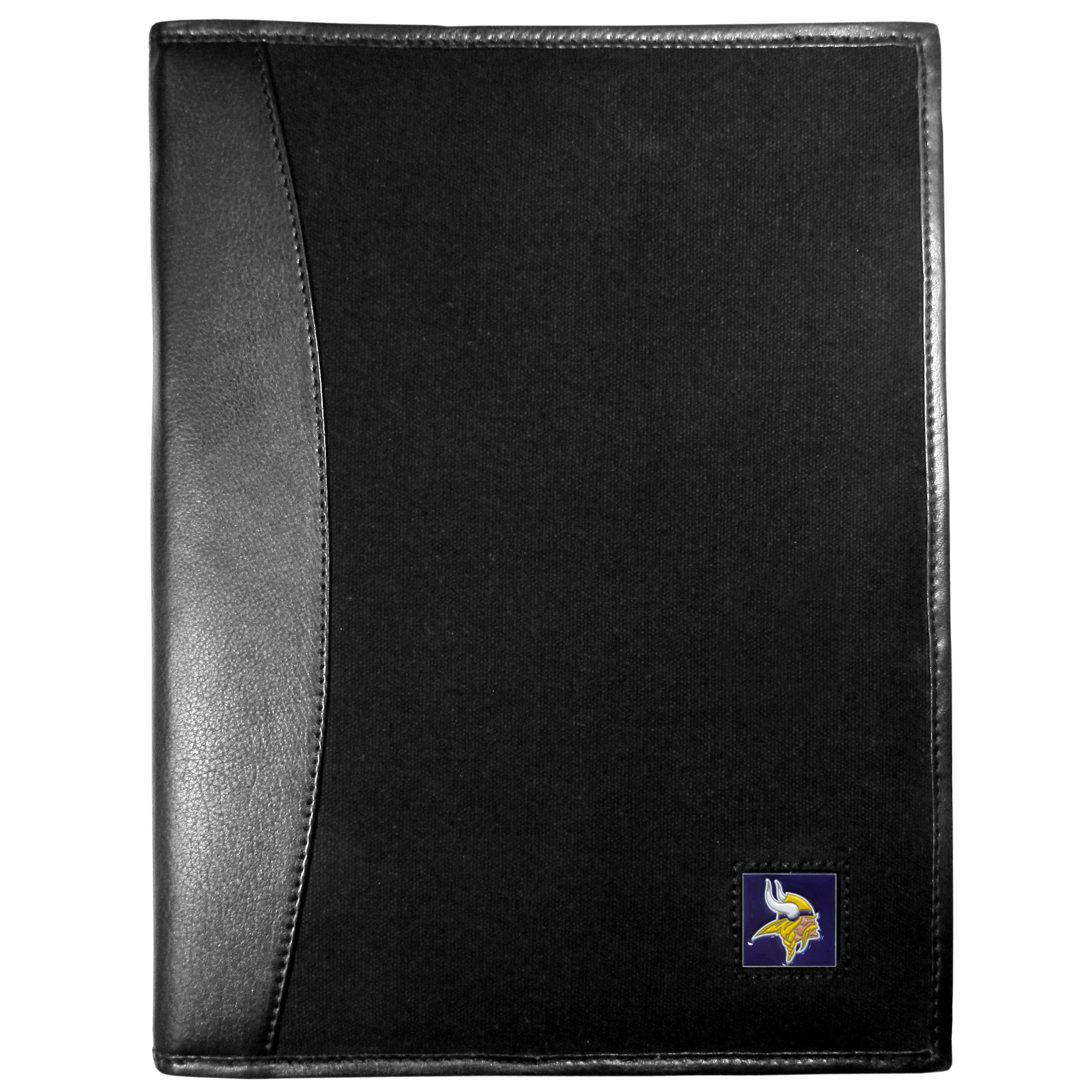 Minnesota Vikings Leather and Canvas Padfolio - Our leather and canvas padfolio perfectly blends form and function. The attractive portfolio is bound in fine grain leather with an attractive canvas finish and the interior is a soft nylon. This high quality business accessory also features a fully cast metal Minnesota Vikings emblem that is subtly set in the corner of the organizer. It is packed with features like 6 card slots for badges, business cards, hotel keys or credit cards and ID with a large pocket for loose papers and a writing tablet slot making it a must-have for the professional on the go.