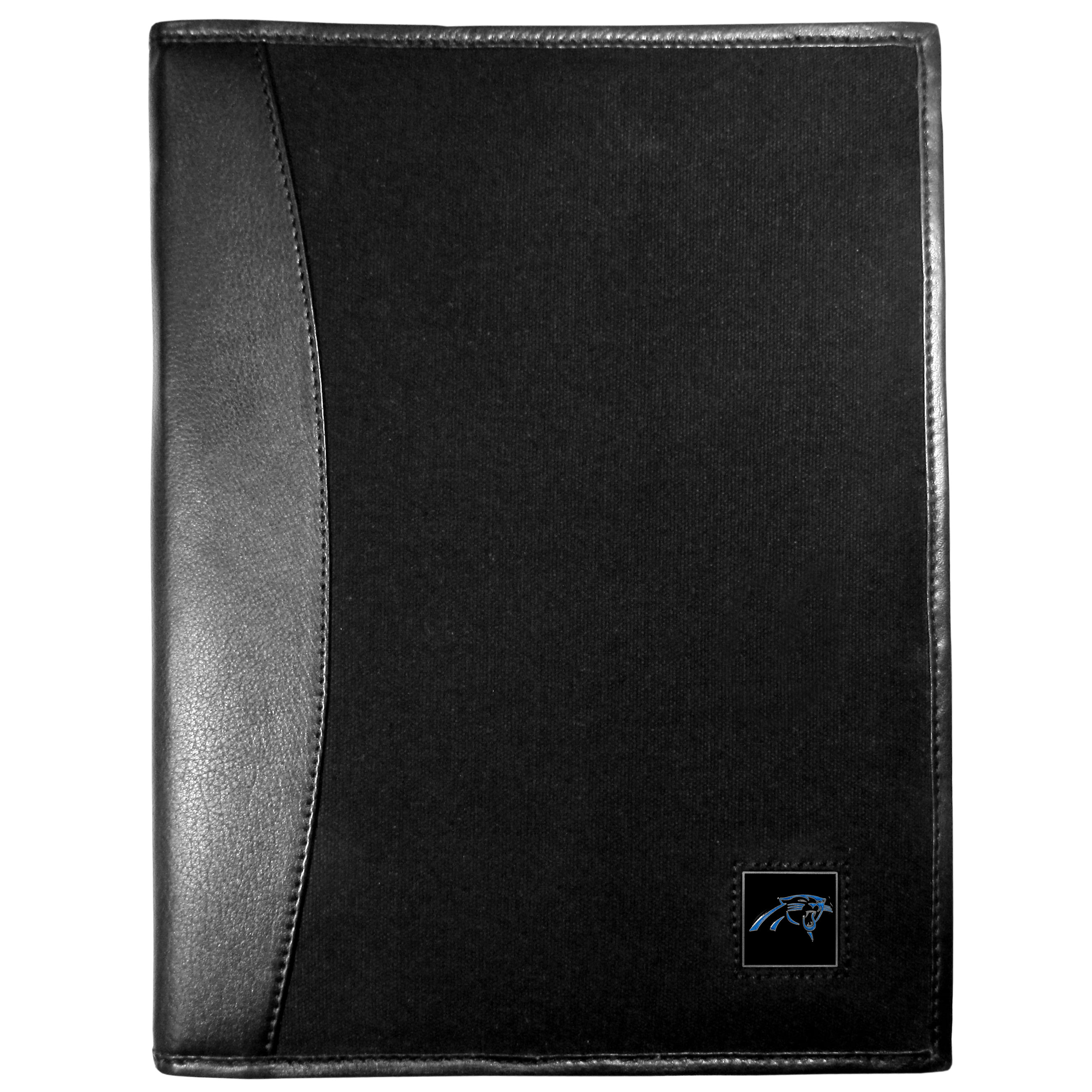 Carolina Panthers Leather and Canvas Padfolio - Our leather and canvas padfolio perfectly blends form and function. The attractive portfolio is bound in fine grain leather with an attractive canvas finish and the interior is a soft nylon. This high quality business accessory also features a fully cast metal Carolina Panthers emblem that is subtly set in the corner of the organizer. It is packed with features like 6 card slots for badges, business cards, hotel keys or credit cards and ID with a large pocket for loose papers and a writing tablet slot making it a must-have for the professional on the go.