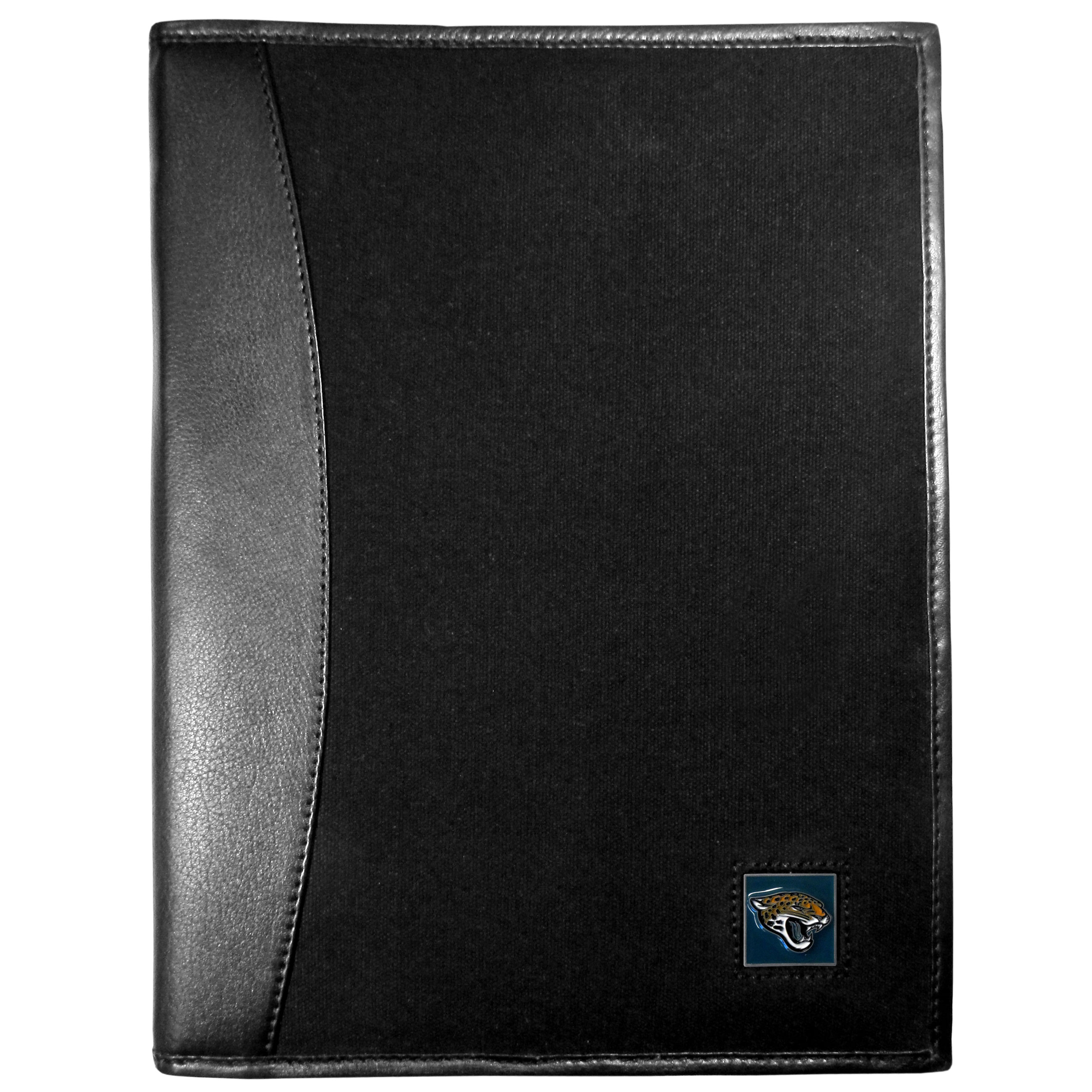Jacksonville Jaguars Leather and Canvas Padfolio - Our leather and canvas padfolio perfectly blends form and function. The attractive portfolio is bound in fine grain leather with an attractive canvas finish and the interior is a soft nylon. This high quality business accessory also features a fully cast metal Jacksonville Jaguars emblem that is subtly set in the corner of the organizer. It is packed with features like 6 card slots for badges, business cards, hotel keys or credit cards and ID with a large pocket for loose papers and a writing tablet slot making it a must-have for the professional on the go.