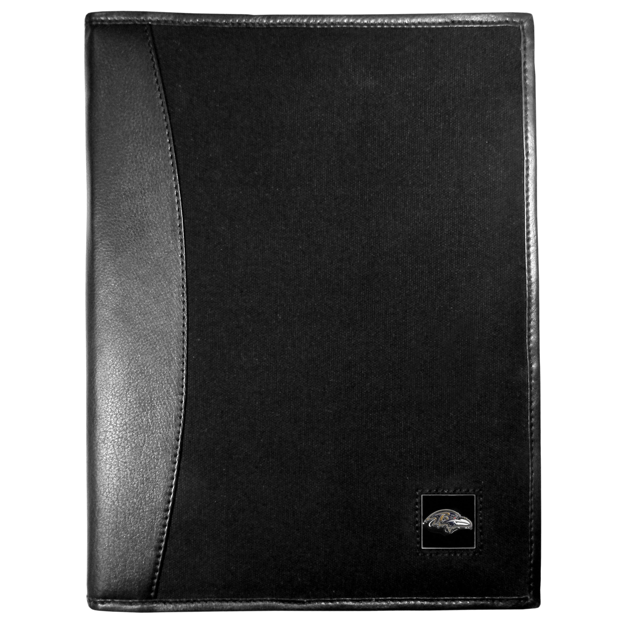 Baltimore Ravens Leather and Canvas Padfolio - Our leather and canvas padfolio perfectly blends form and function. The attractive portfolio is bound in fine grain leather with an attractive canvas finish and the interior is a soft nylon. This high quality business accessory also features a fully cast metal Baltimore Ravens emblem that is subtly set in the corner of the organizer. It is packed with features like 6 card slots for badges, business cards, hotel keys or credit cards and ID with a large pocket for loose papers and a writing tablet slot making it a must-have for the professional on the go.