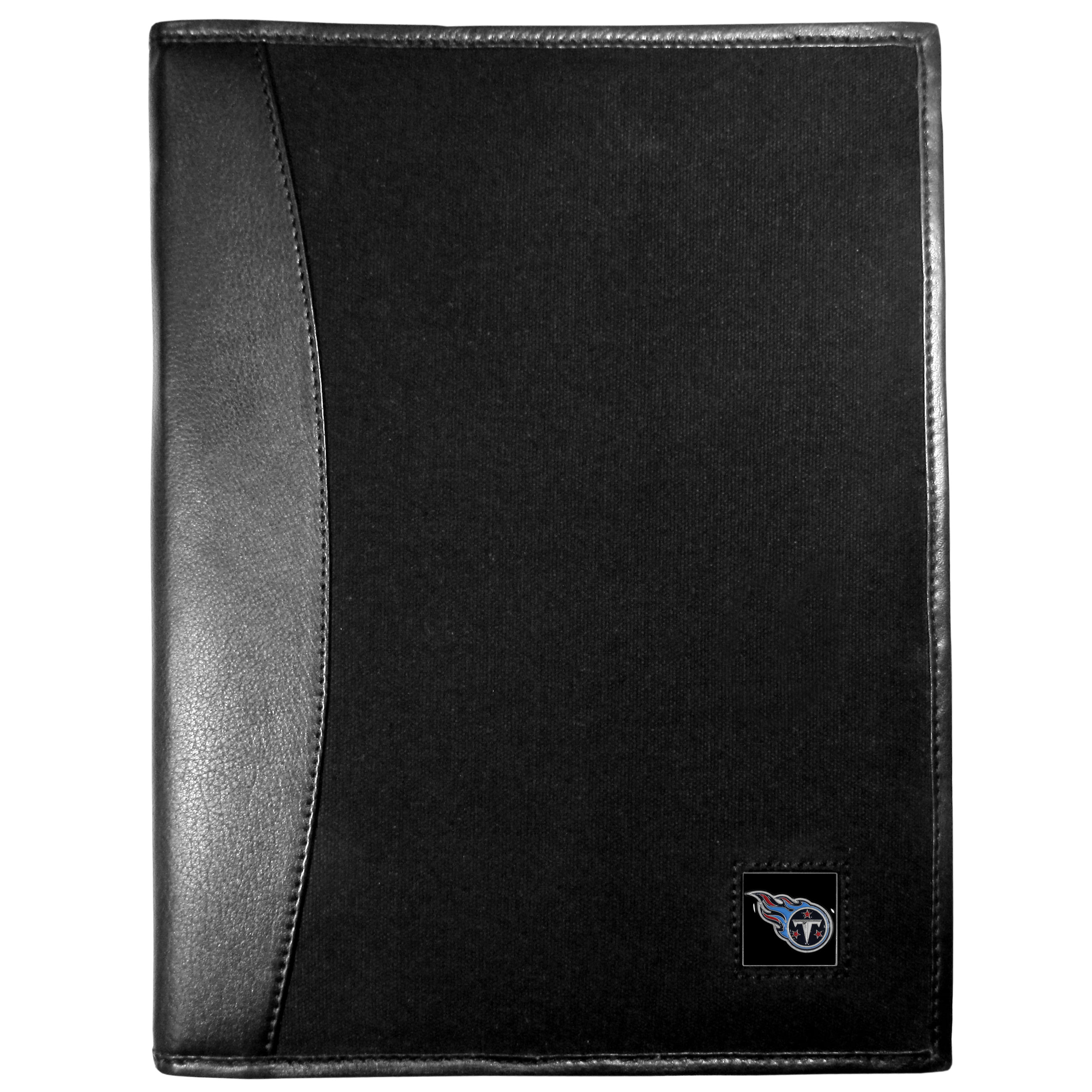 Tennessee Titans Leather and Canvas Padfolio - Our leather and canvas padfolio perfectly blends form and function. The attractive portfolio is bound in fine grain leather with an attractive canvas finish and the interior is a soft nylon. This high quality business accessory also features a fully cast metal Tennessee Titans emblem that is subtly set in the corner of the organizer. It is packed with features like 6 card slots for badges, business cards, hotel keys or credit cards and ID with a large pocket for loose papers and a writing tablet slot making it a must-have for the professional on the go.