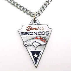 NFL Chain Necklace & Pendant - Denver Broncos - Chain Necklace with Enameled NFL Team Pendant. A great way to show team spirit! Check out our entire line of licensed  jewelry.  - Denver Broncos  Officially licensed NFL product Licensee: Siskiyou Buckle Thank you for visiting CrazedOutSports.com