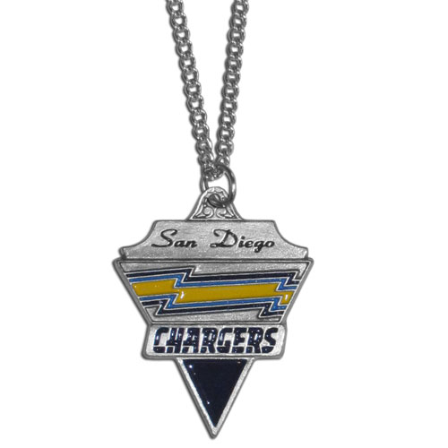 NFL Chain Necklace & Pendant - San Diego Chargers - Chain Necklace with Enameled NFL Team Pendant. A great way to show team spirit! Check out our entire line of licensed  jewelry.  - San Diego Chargers  Officially licensed NFL product Licensee: Siskiyou Buckle Thank you for visiting CrazedOutSports.com