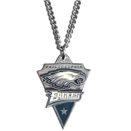 NFL Chain Necklace & Pendant - Philadelphia Eagles - Chain Necklace with Enameled NFL Team Pendant. A great way to show team spirit! Check out our entire line of licensed  jewelry.  - Philadelphia Eagles  Officially licensed NFL product Licensee: Siskiyou Buckle .com