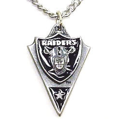 NFL Chain Necklace & Pendant - Oakland Raiders - Chain Necklace with Enameled NFL Team Pendant. A great way to show team spirit! Check out our entire line of licensed  jewelry.  - Oakland Raiders  Officially licensed NFL product Licensee: Siskiyou Buckle Thank you for visiting CrazedOutSports.com