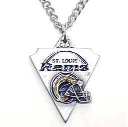 NFL Chain Necklace & Pendant - St. Louis Rams - Chain Necklace with Enameled NFL Team Pendant. A great way to show team spirit! Check out our entire line of licensed  jewelry.  - St. Louis Rams  Officially licensed NFL product Licensee: Siskiyou Buckle Thank you for visiting CrazedOutSports.com