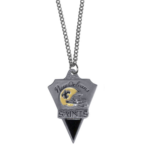NFL Chain Necklace & Pendant - New Orleans Saints - Chain Necklace with Enameled NFL Team Pendant. A great way to show team spirit! Check out our entire line of licensed  jewelry.  - New Orleans Saints  Officially licensed NFL product Licensee: Siskiyou Buckle Thank you for visiting CrazedOutSports.com