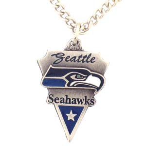 NFL Chain Necklace and Pendant - Seattle Seahawks - Chain Necklace with Enameled NFL Team Pendant. A great way to show team spirit! Check out our entire line of licensed  jewelry.  - Seattle Seahawks  Officially licensed NFL product Licensee: Siskiyou Buckle .com