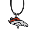 Denver Broncos Cord Necklace - This classic style cotton cord necklace features an extra large Denver Broncos pendant on a 21 inch cord.