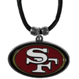 San Francisco 49ers Cord Necklace - This classic style cotton cord necklace features an extra large San Francisco 49ers pendant on a 21 inch cord.