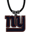 New York Giants Cord Necklace - This classic style cotton cord necklace features an extra large New York Giants pendant on a 21 inch cord.