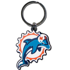 NFL Key Chain - Miami Dolphins - Our NFL PVC key chains are logo cut and color filled. A great way to show off your team pride! Officially licensed NFL product Licensee: Siskiyou Buckle .com