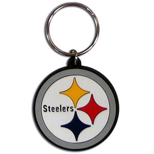 Steelers Flexi Key Chain - Our NFL flexi key chains are logo cut and color filled. A great way to show off your team pride! Officially licensed NFL product Licensee: Siskiyou Buckle .com