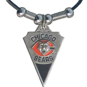 Leather NFL Necklace & Pendant - Chicago Bears - Chicago Bears leather necklace with beads and enameled NFL Team Pendant. Check out our entire line of licensed  NFL merchandise! Officially licensed NFL product Licensee: Siskiyou Buckle Thank you for visiting CrazedOutSports.com