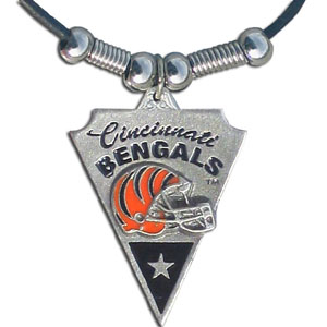 Leather NFL Necklace & Pendant - Cincinnati Bengals - Cincinnati Bengals leather necklace with beads and enameled NFL Team Pendant. Check out our entire line of licensed  NFL merchandise! Officially licensed NFL product Licensee: Siskiyou Buckle Thank you for visiting CrazedOutSports.com