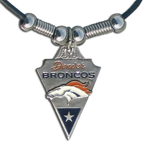 Leather NFL Necklace & Pendant - Denver Broncos - Denver Broncos leather necklace with beads and enameled NFL Team Pendant. Check out our entire line of licensed  NFL merchandise! Officially licensed NFL product Licensee: Siskiyou Buckle Thank you for visiting CrazedOutSports.com