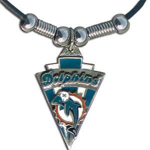Leather NFL Necklace & Pendant - Miami Dolphins - Miami Dolphins leather necklace with beads and enameled NFL Team Pendant. Check out our entire line of licensed  NFL merchandise! Officially licensed NFL product Licensee: Siskiyou Buckle Thank you for visiting CrazedOutSports.com