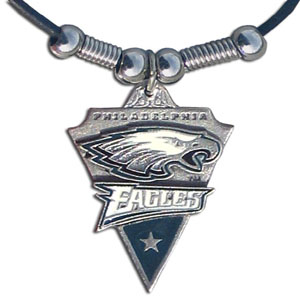 Leather NFL Necklace & Pendant - Philadelphia Eagles - Philadelphia Eagles  leather necklace with beads and enameled NFL Team Pendant. Check out our entire line of licensed  NFL merchandise! Officially licensed NFL product Licensee: Siskiyou Buckle .com